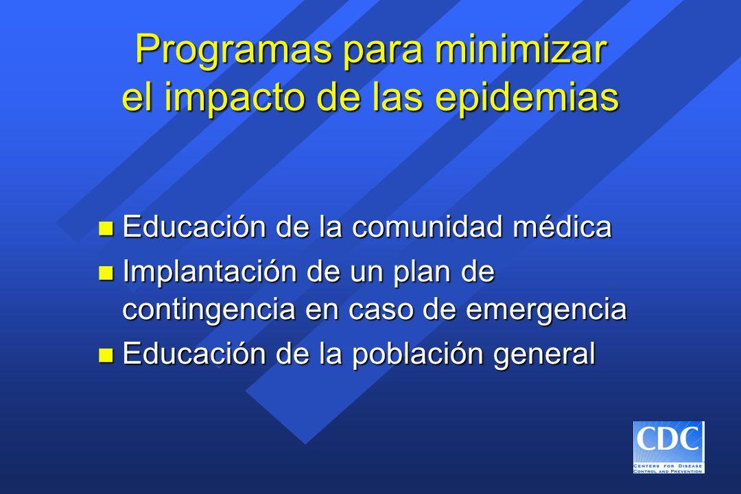 Programas para minimizar el impacto de las epidemias n Educación de la comunidad médica n Implantación de un plan de contingencia en caso de emergenci