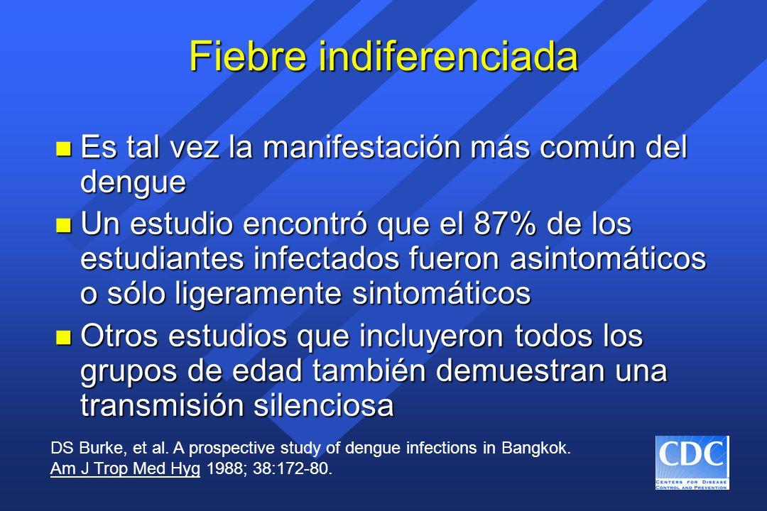Fiebre indiferenciada n Es tal vez la manifestación más común del dengue n Un estudio encontró que el 87% de los estudiantes infectados fueron asintom