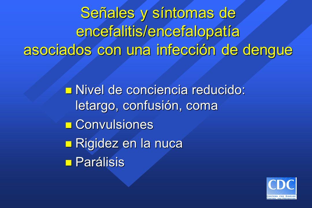 Señales y síntomas de encefalitis/encefalopatía asociados con una infección de dengue n Nivel de conciencia reducido: letargo, confusión, coma n Convu