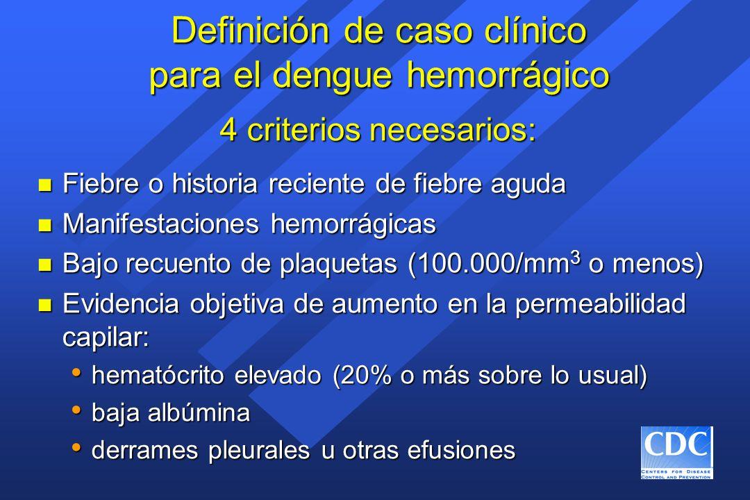 Definición de caso clínico para el dengue hemorrágico n Fiebre o historia reciente de fiebre aguda n Manifestaciones hemorrágicas n Bajo recuento de p