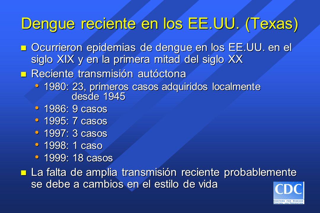 Dengue reciente en los EE.UU. (Texas) n Ocurrieron epidemias de dengue en los EE.UU. en el siglo XIX y en la primera mitad del siglo XX n Reciente tra