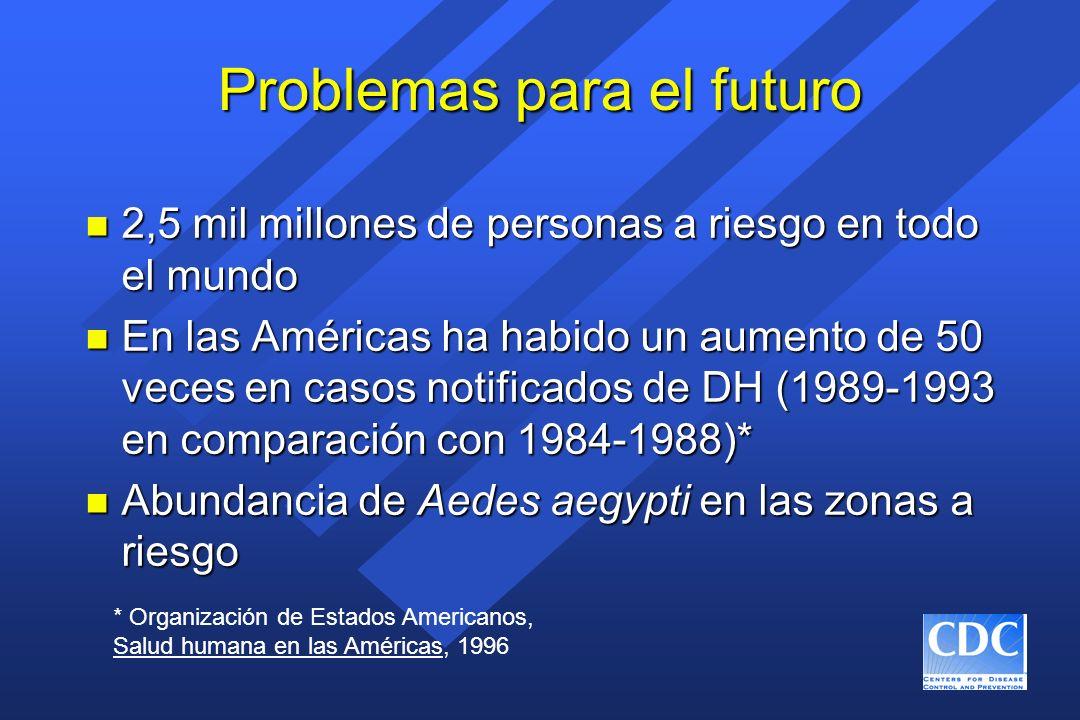 Problemas para el futuro n 2,5 mil millones de personas a riesgo en todo el mundo n En las Américas ha habido un aumento de 50 veces en casos notifica