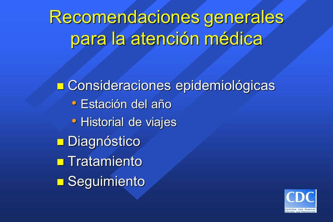 Recomendaciones generales para la atención médica n Consideraciones epidemiológicas Estación del año Estación del año Historial de viajes Historial de