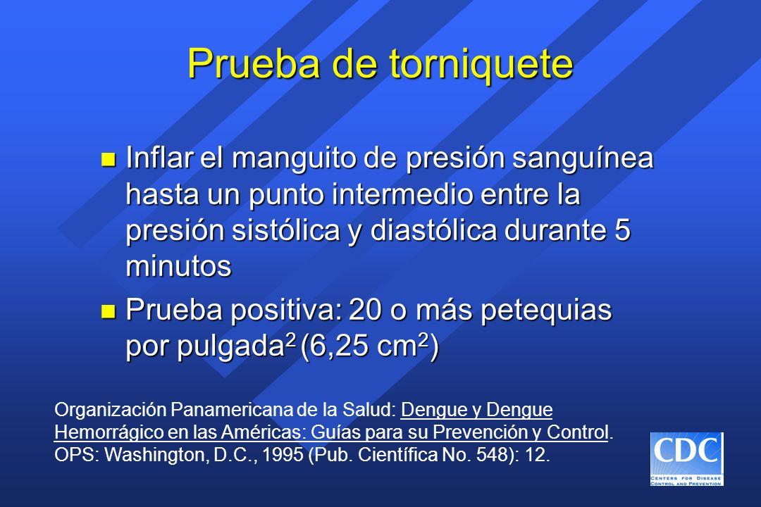 Prueba de torniquete n Inflar el manguito de presión sanguínea hasta un punto intermedio entre la presión sistólica y diastólica durante 5 minutos n P