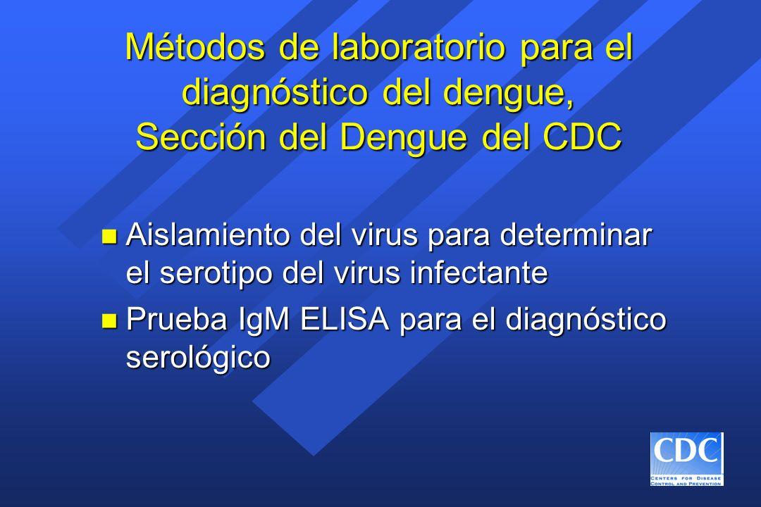 Métodos de laboratorio para el diagnóstico del dengue, Sección del Dengue del CDC n Aislamiento del virus para determinar el serotipo del virus infect