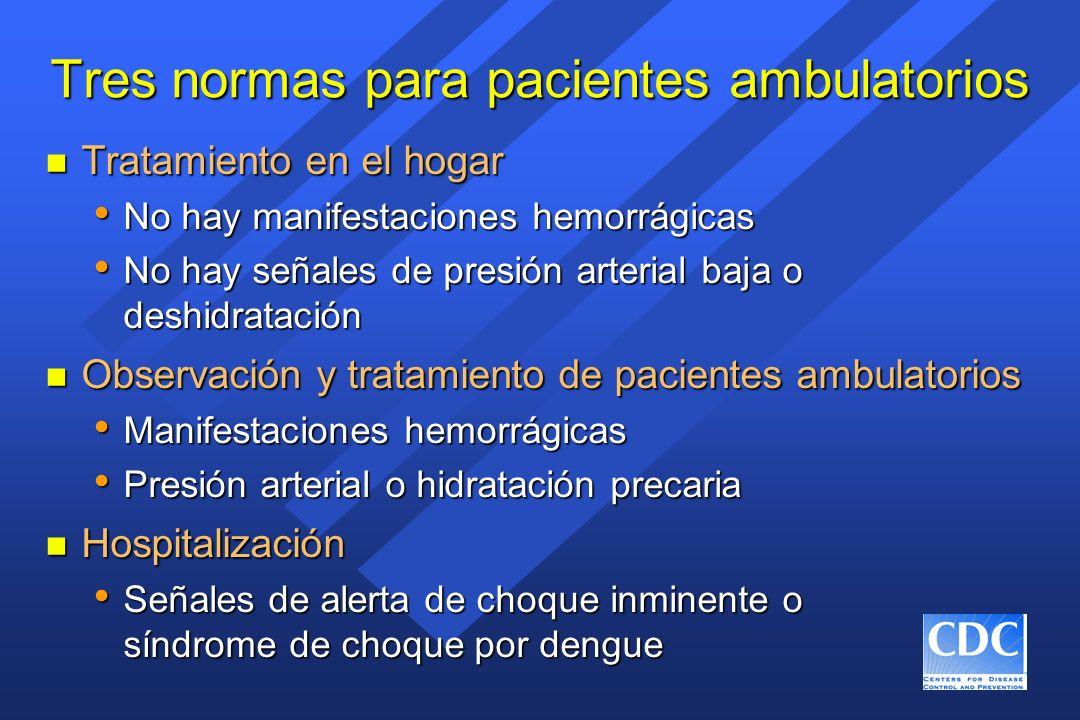 Tres normas para pacientes ambulatorios n Tratamiento en el hogar No hay manifestaciones hemorrágicas No hay manifestaciones hemorrágicas No hay señal
