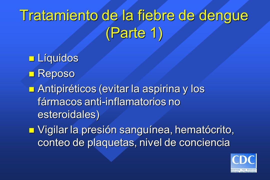 Tratamiento de la fiebre de dengue (Parte 1) n Líquidos n Reposo n Antipiréticos (evitar la aspirina y los fármacos anti-inflamatorios no esteroidales