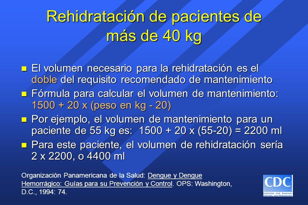 Rehidratación de pacientes de más de 40 kg n El volumen necesario para la rehidratación es el doble del requisito recomendado de mantenimiento n Fórmu