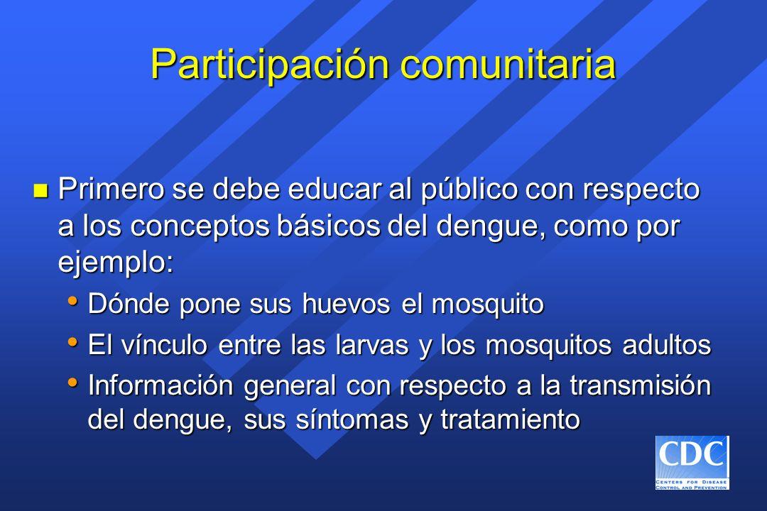 Participación comunitaria n Primero se debe educar al público con respecto a los conceptos básicos del dengue, como por ejemplo: Dónde pone sus huevos