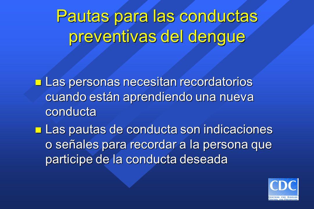Pautas para las conductas preventivas del dengue n Las personas necesitan recordatorios cuando están aprendiendo una nueva conducta n Las pautas de co