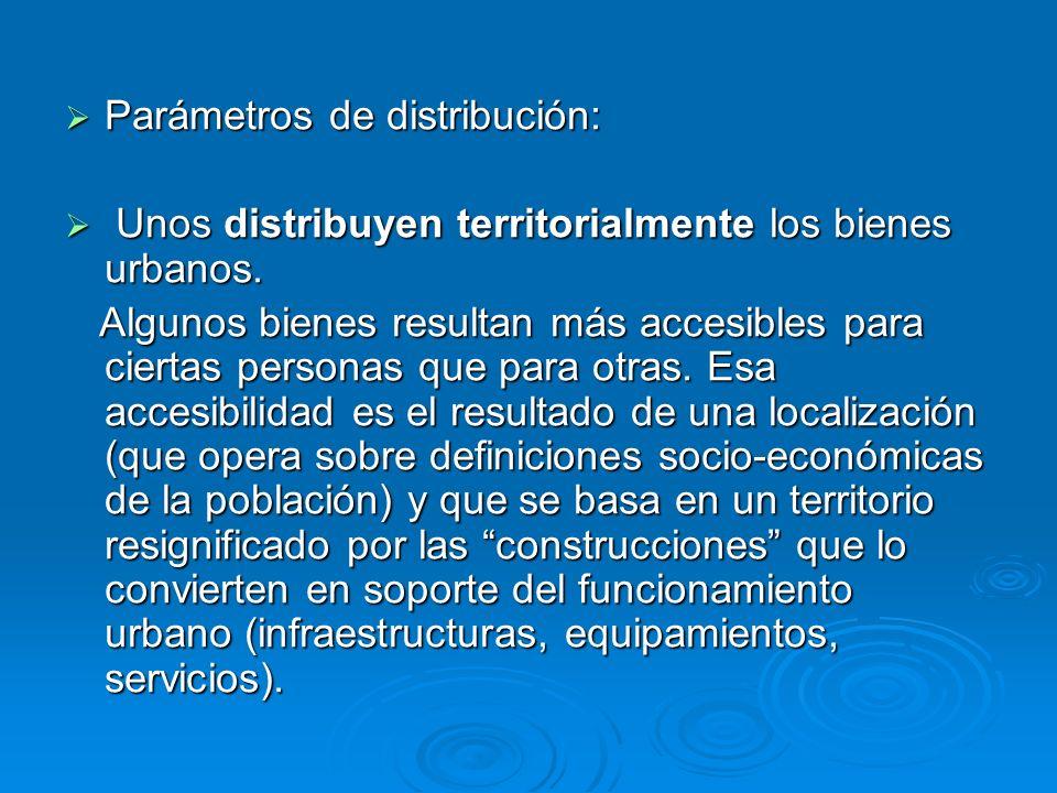 Parámetros de distribución: Parámetros de distribución: Unos distribuyen territorialmente los bienes urbanos. Unos distribuyen territorialmente los bi