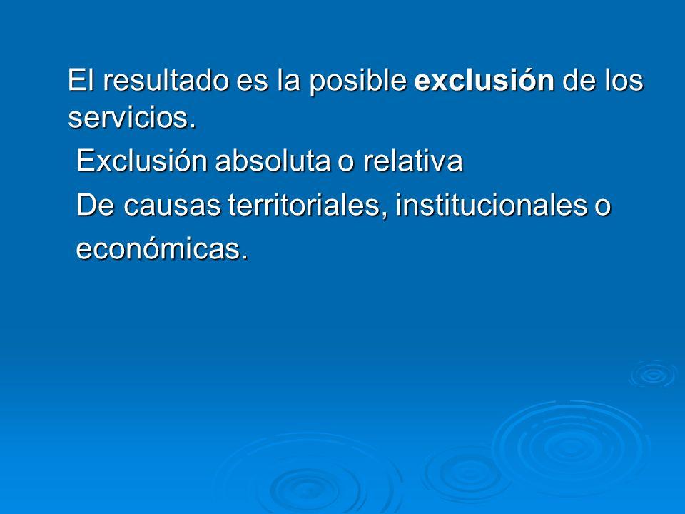 El resultado es la posible exclusión de los servicios. El resultado es la posible exclusión de los servicios. Exclusión absoluta o relativa Exclusión