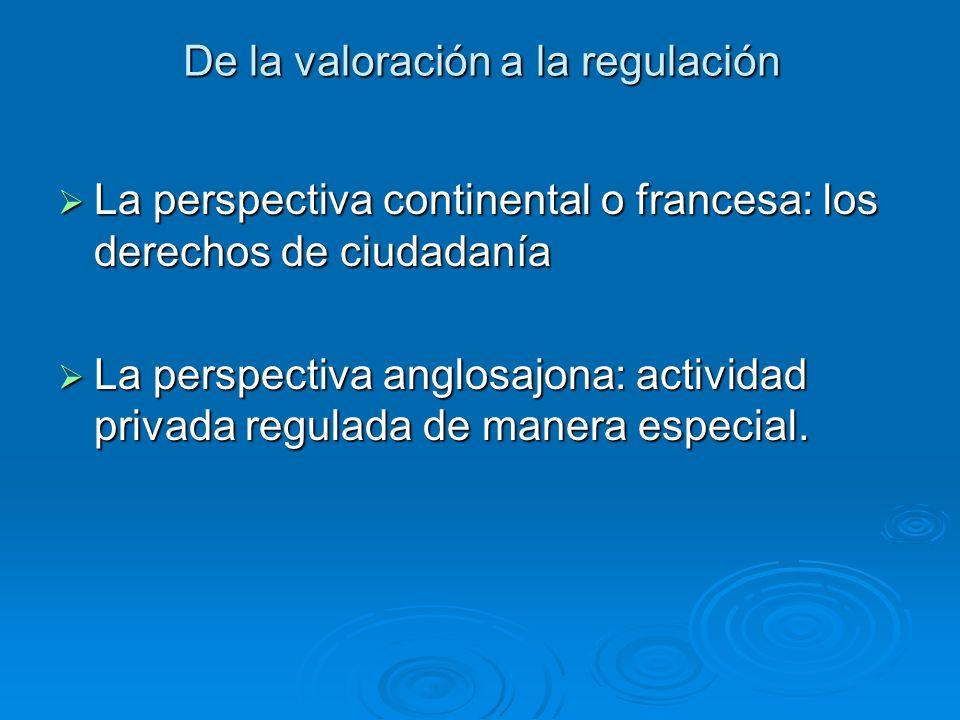 De la valoración a la regulación La perspectiva continental o francesa: los derechos de ciudadanía La perspectiva continental o francesa: los derechos