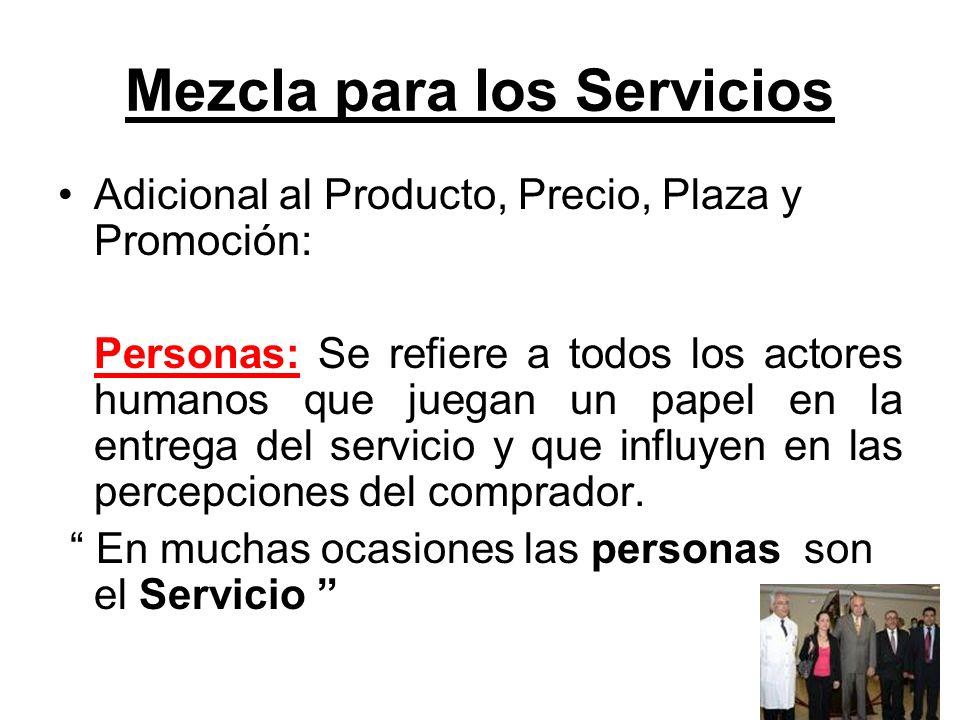 Mezcla para los Servicios Adicional al Producto, Precio, Plaza y Promoción: Personas: Se refiere a todos los actores humanos que juegan un papel en la