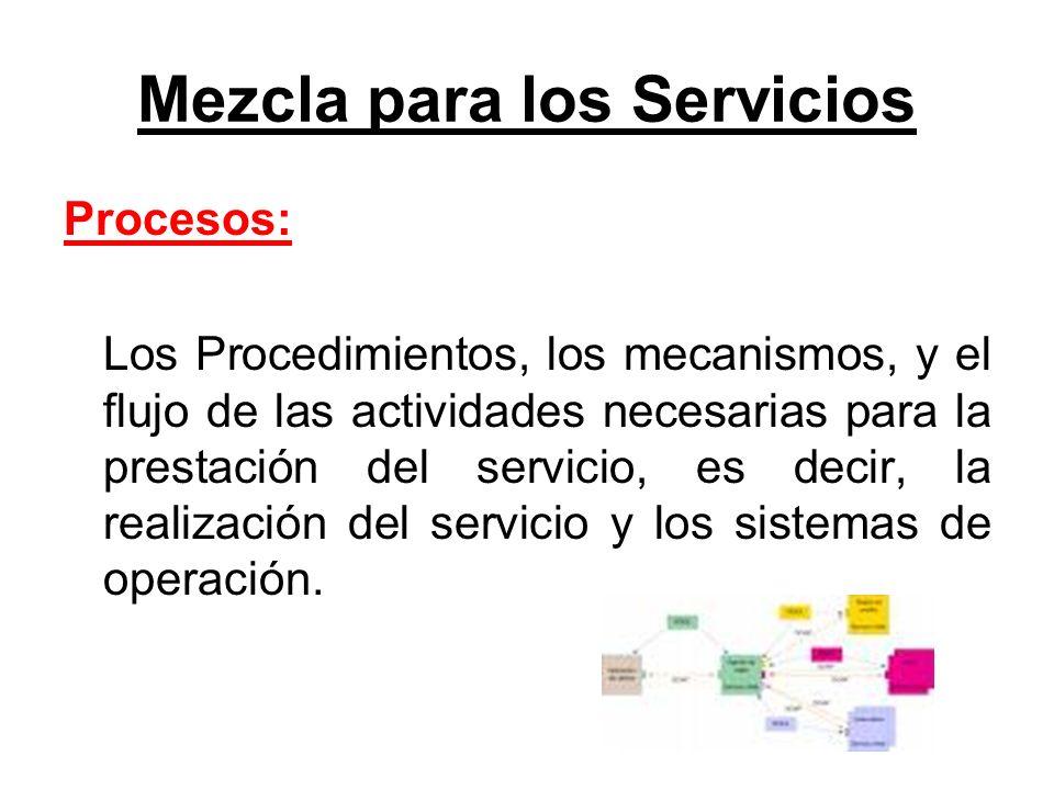 Mezcla para los Servicios Procesos: Los Procedimientos, los mecanismos, y el flujo de las actividades necesarias para la prestación del servicio, es d