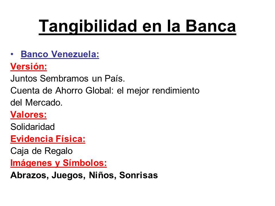 Tangibilidad en la Banca Banco Venezuela: Versión: Juntos Sembramos un País. Cuenta de Ahorro Global: el mejor rendimiento del Mercado. Valores: Solid