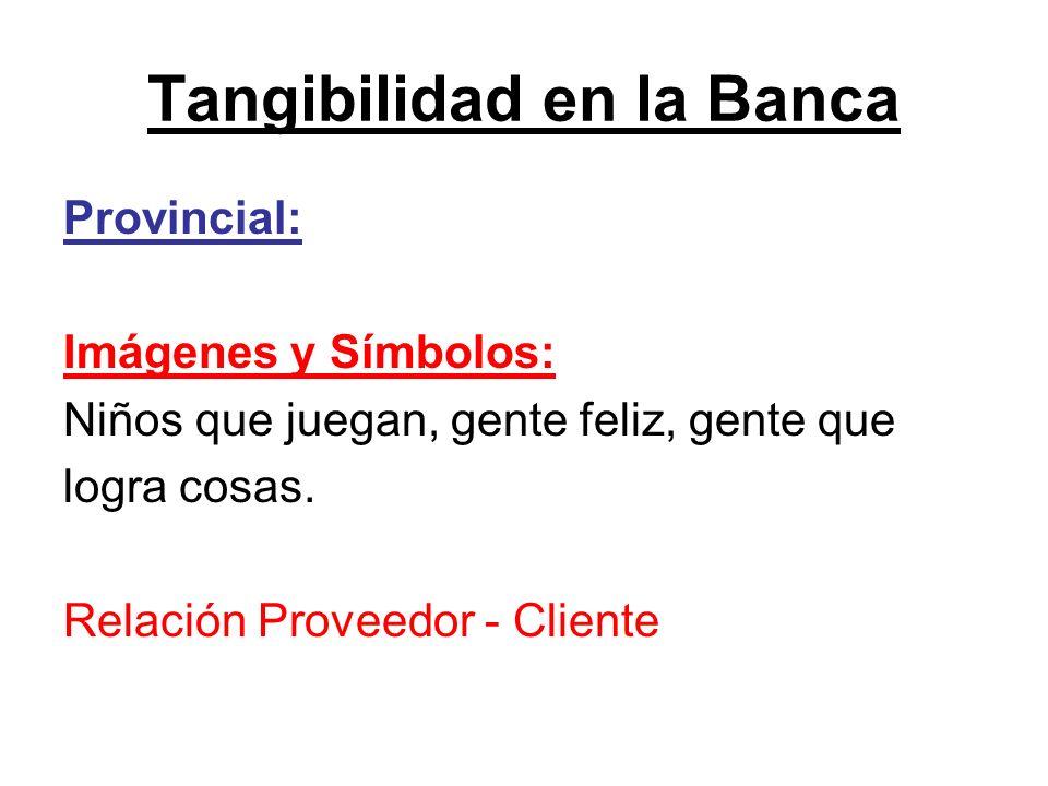 Tangibilidad en la Banca Provincial: Imágenes y Símbolos: Niños que juegan, gente feliz, gente que logra cosas. Relación Proveedor - Cliente