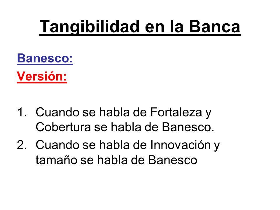 Tangibilidad en la Banca Banesco: Versión: 1.Cuando se habla de Fortaleza y Cobertura se habla de Banesco. 2.Cuando se habla de Innovación y tamaño se