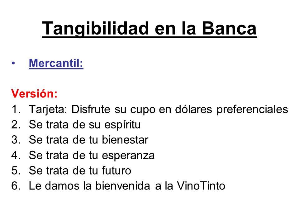 Tangibilidad en la Banca Mercantil: Versión: 1.Tarjeta: Disfrute su cupo en dólares preferenciales 2.Se trata de su espíritu 3.Se trata de tu bienesta