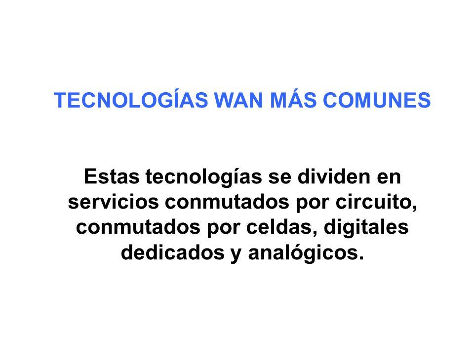 TECNOLOGÍAS WAN MÁS COMUNES Estas tecnologías se dividen en servicios conmutados por circuito, conmutados por celdas, digitales dedicados y analógicos