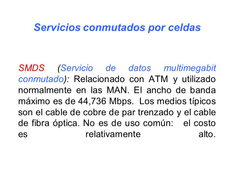 SMDS (Servicio de datos multimegabit conmutado): Relacionado con ATM y utilizado normalmente en las MAN. El ancho de banda máximo es de 44,736 Mbps. L