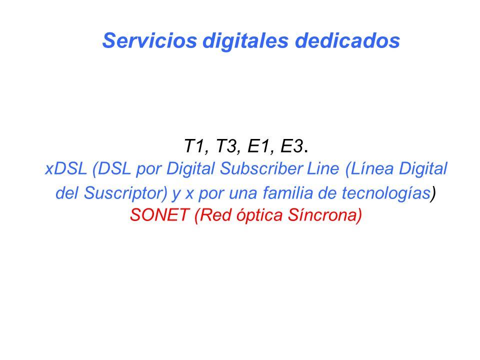 T1, T3, E1, E3. xDSL (DSL por Digital Subscriber Line (Línea Digital del Suscriptor) y x por una familia de tecnologías) SONET (Red óptica Síncrona) S