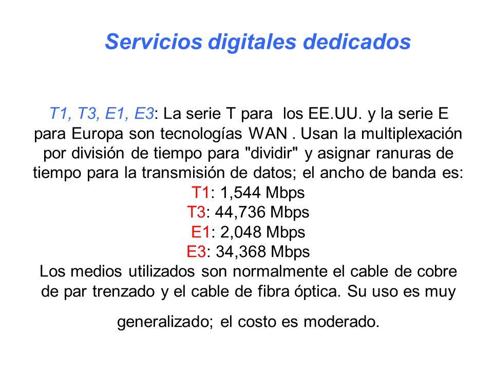 T1, T3, E1, E3: La serie T para los EE.UU. y la serie E para Europa son tecnologías WAN. Usan la multiplexación por división de tiempo para