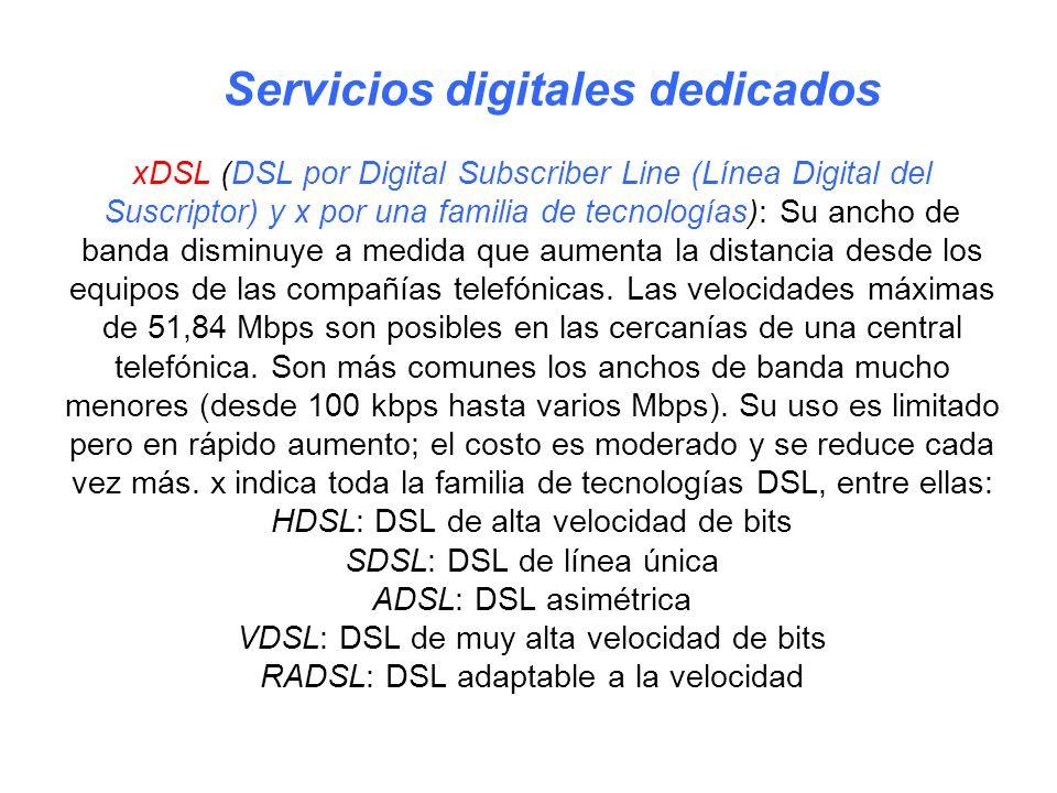 xDSL (DSL por Digital Subscriber Line (Línea Digital del Suscriptor) y x por una familia de tecnologías): Su ancho de banda disminuye a medida que aum