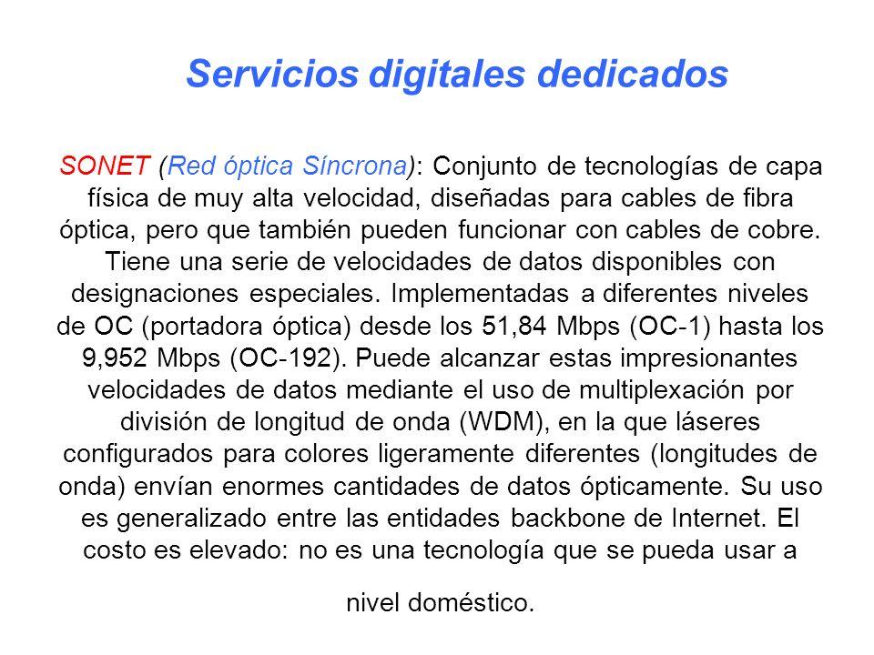 SONET (Red óptica Síncrona): Conjunto de tecnologías de capa física de muy alta velocidad, diseñadas para cables de fibra óptica, pero que también pue