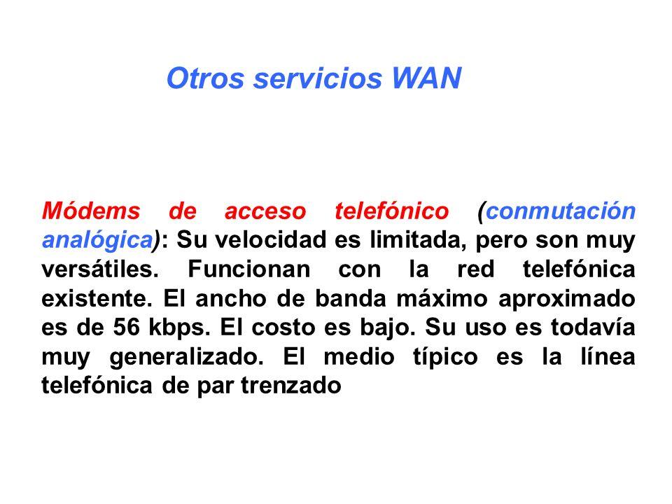 Módems de acceso telefónico (conmutación analógica): Su velocidad es limitada, pero son muy versátiles. Funcionan con la red telefónica existente. El