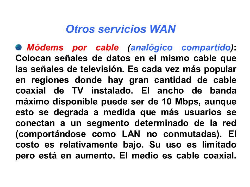 Módems por cable (analógico compartido): Colocan señales de datos en el mismo cable que las señales de televisión. Es cada vez más popular en regiones