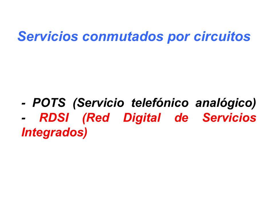 - POTS (Servicio telefónico analógico) - RDSI (Red Digital de Servicios Integrados) Servicios conmutados por circuitos