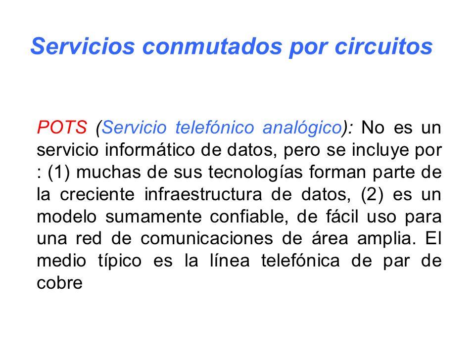 POTS (Servicio telefónico analógico): No es un servicio informático de datos, pero se incluye por : (1) muchas de sus tecnologías forman parte de la c