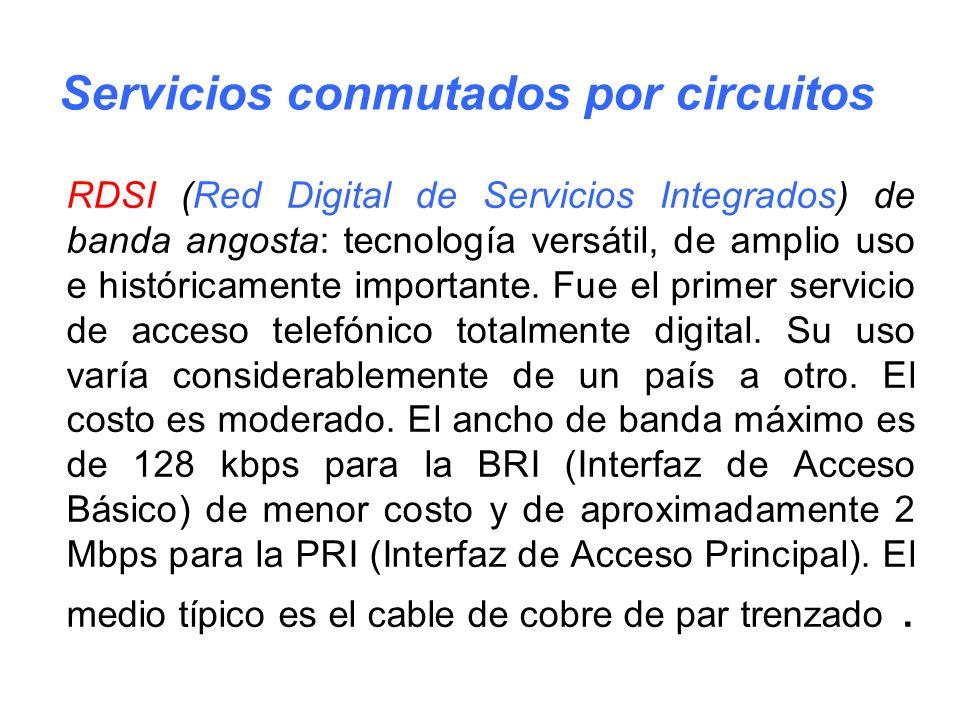 RDSI (Red Digital de Servicios Integrados) de banda angosta: tecnología versátil, de amplio uso e históricamente importante. Fue el primer servicio de