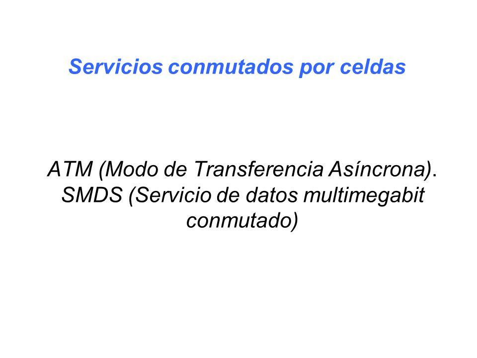 ATM (Modo de Transferencia Asíncrona). SMDS (Servicio de datos multimegabit conmutado) Servicios conmutados por celdas