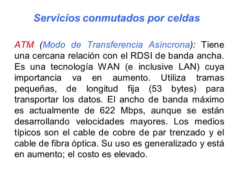 ATM (Modo de Transferencia Asíncrona): Tiene una cercana relación con el RDSI de banda ancha. Es una tecnología WAN (e inclusive LAN) cuya importancia