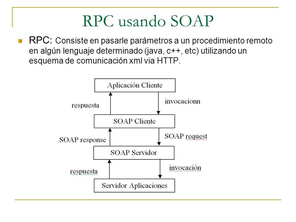 RPC: Consiste en pasarle parámetros a un procedimiento remoto en algún lenguaje determinado (java, c++, etc) utilizando un esquema de comunicación xml via HTTP.