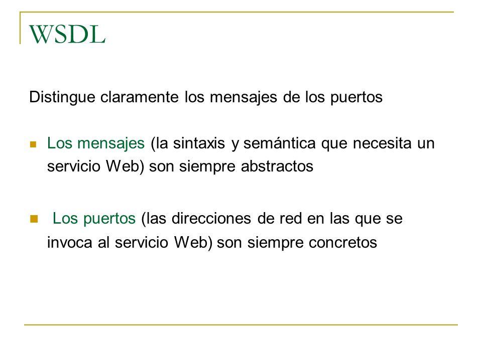 WSDL Distingue claramente los mensajes de los puertos Los mensajes (la sintaxis y semántica que necesita un servicio Web) son siempre abstractos Los puertos (las direcciones de red en las que se invoca al servicio Web) son siempre concretos