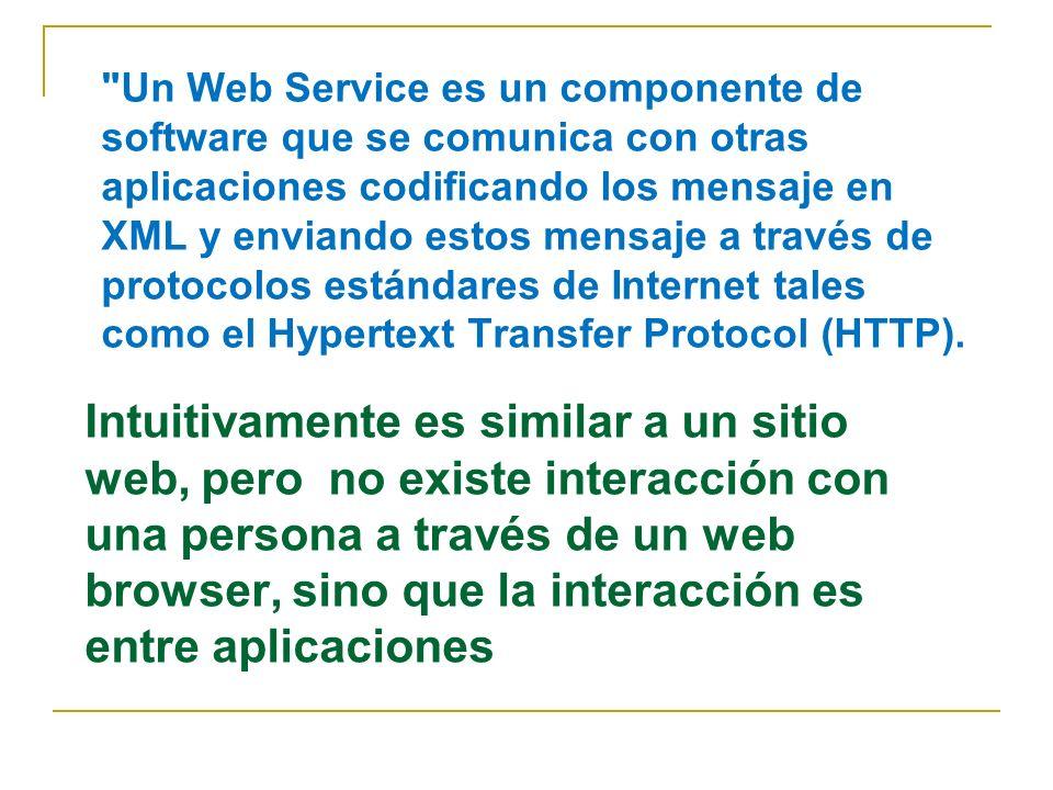 Intuitivamente es similar a un sitio web, pero no existe interacción con una persona a través de un web browser, sino que la interacción es entre aplicaciones Un Web Service es un componente de software que se comunica con otras aplicaciones codificando los mensaje en XML y enviando estos mensaje a través de protocolos estándares de Internet tales como el Hypertext Transfer Protocol (HTTP).