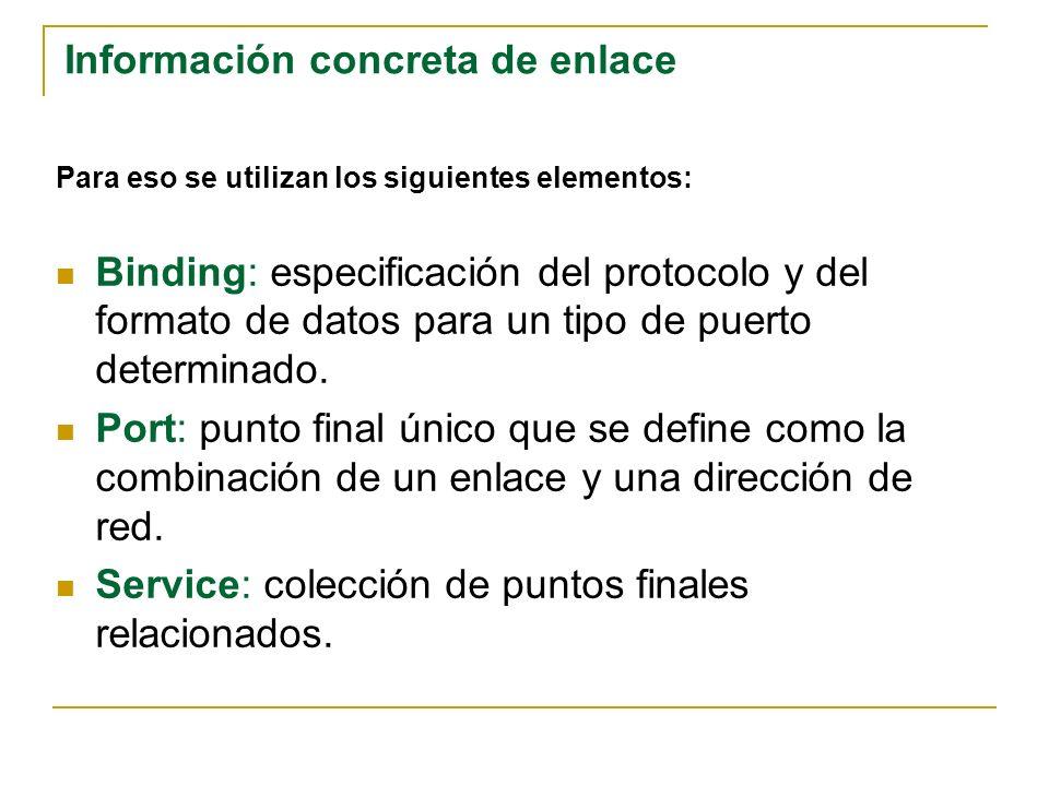 Para eso se utilizan los siguientes elementos: Binding: especificación del protocolo y del formato de datos para un tipo de puerto determinado. Port: