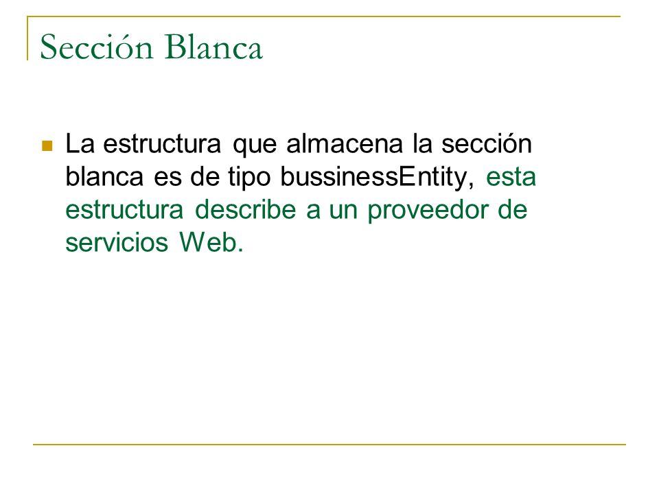 La estructura que almacena la sección blanca es de tipo bussinessEntity, esta estructura describe a un proveedor de servicios Web. Sección Blanca
