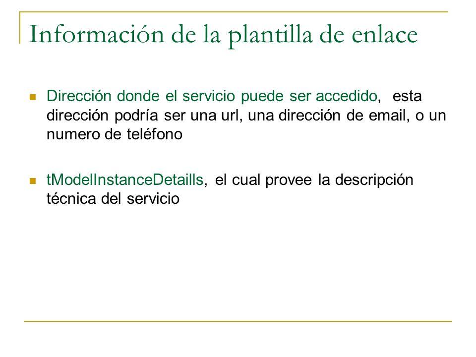Información de la plantilla de enlace Dirección donde el servicio puede ser accedido, esta dirección podría ser una url, una dirección de email, o un numero de teléfono tModelInstanceDetaills, el cual provee la descripción técnica del servicio
