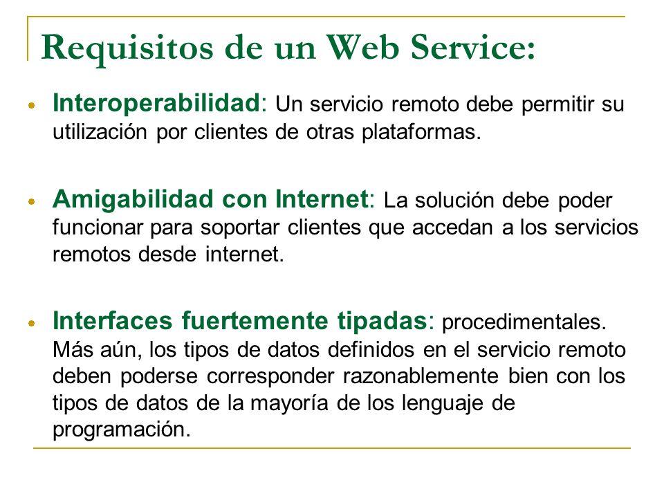 Requisitos de un Web Service: Interoperabilidad: Un servicio remoto debe permitir su utilización por clientes de otras plataformas. Amigabilidad con I