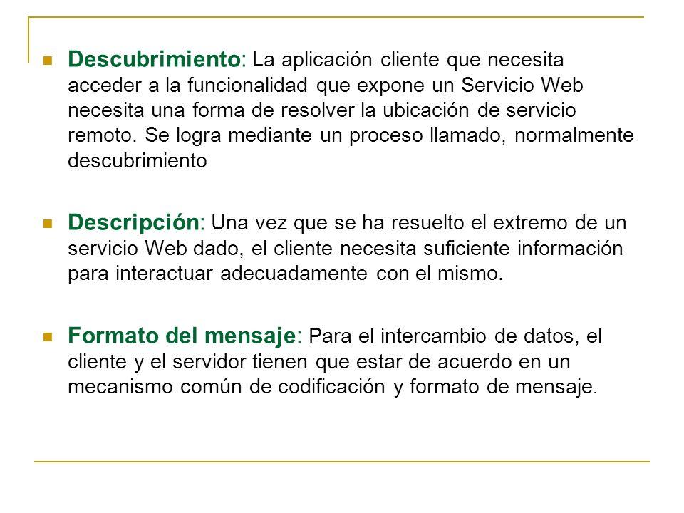 Descubrimiento: La aplicación cliente que necesita acceder a la funcionalidad que expone un Servicio Web necesita una forma de resolver la ubicación de servicio remoto.
