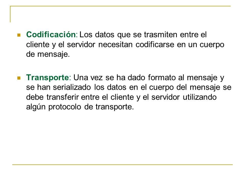 Codificación: Los datos que se trasmiten entre el cliente y el servidor necesitan codificarse en un cuerpo de mensaje. Transporte: Una vez se ha dado