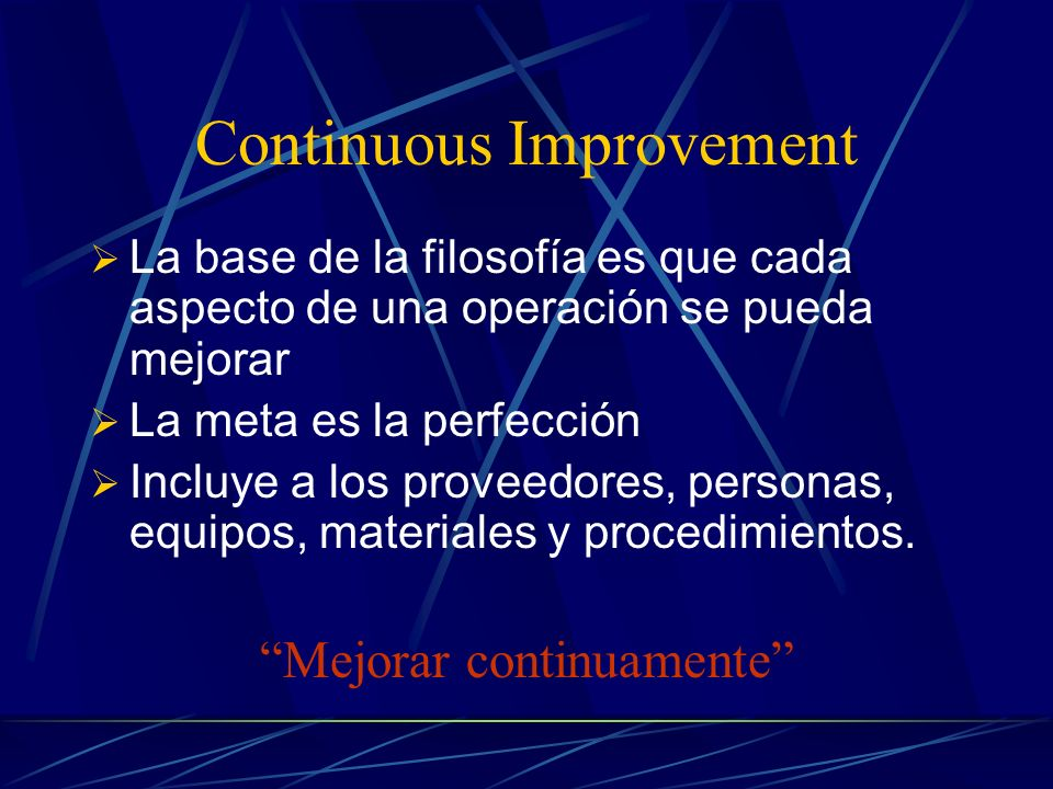 6 conceptos para la efectividad de TQM Continuous Improvement Employee Empowerment Benchmarking Just – in – Time Taguchi Concepts Knowledge of TQM