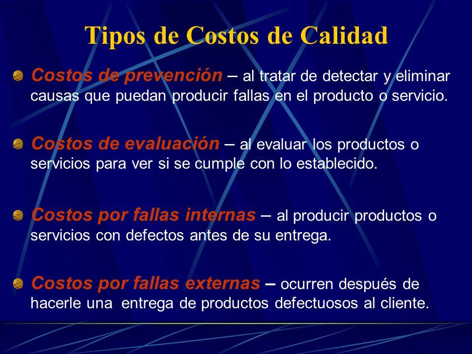 Costos de Calidad Son costos relacionados con la incapacidad para lograr la calidad de un producto o servicio tal y como fue estipulado por la compañía.