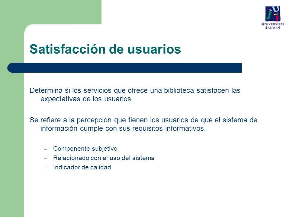 Satisfacción de usuarios Determina si los servicios que ofrece una biblioteca satisfacen las expectativas de los usuarios.