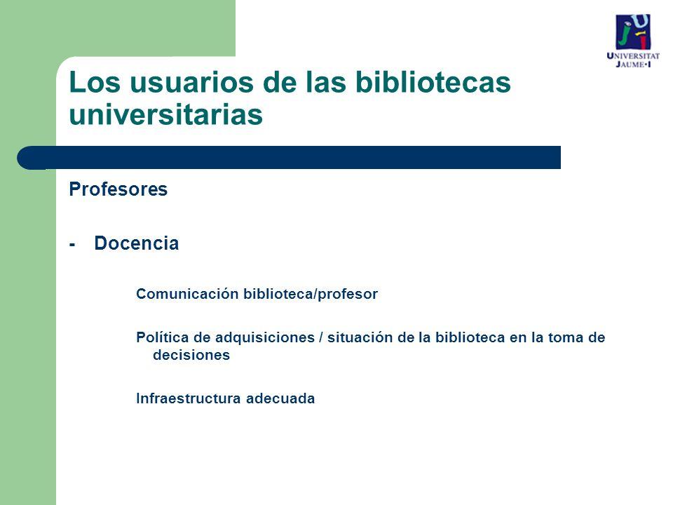 Los usuarios de las bibliotecas universitarias Profesores -Docencia Comunicación biblioteca/profesor Política de adquisiciones / situación de la biblioteca en la toma de decisiones Infraestructura adecuada