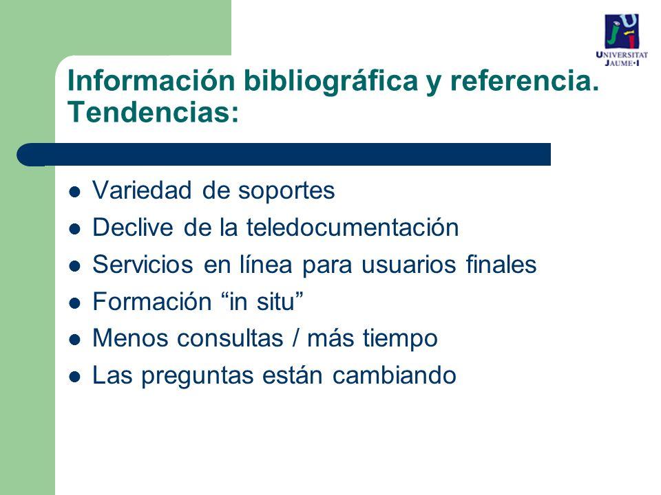 Variedad de soportes Declive de la teledocumentación Servicios en línea para usuarios finales Formación in situ Menos consultas / más tiempo Las preguntas están cambiando Información bibliográfica y referencia.